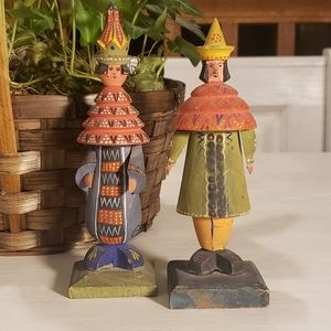 Vintage wood hand carved and painted figures